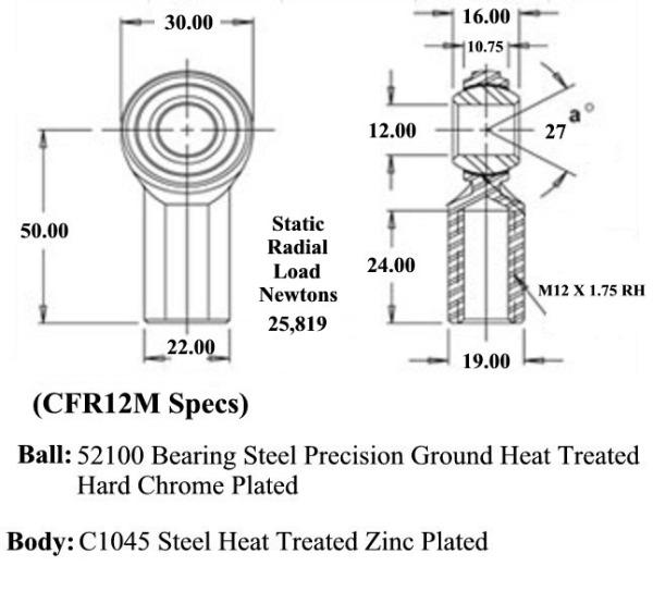 M12 X 1.75 Economy Metric Female RH Rod End CFR12M  for Sale $7.35