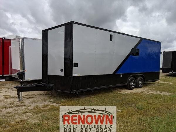 Silver/Blue 8.5x24 Racing Trailer w/Full Bath  for Sale $32,500